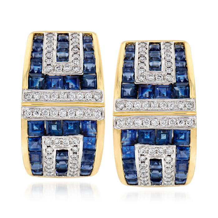 3.91 ct. t.w. Sapphire and .41 ct. t.w. Diamond Geometric Earrings in 18kt Yellow Gold