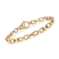 "Italian 18kt Yellow Gold Horsebit Link Bracelet. 7.75"", , default"