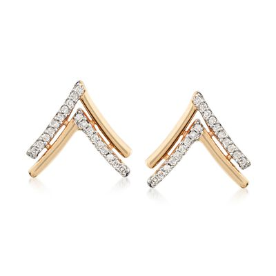 .10 ct. t.w. Diamond Chevron Stud Earrings in 14kt Yellow Gold , , default