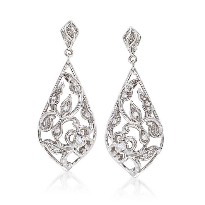"""Belle Etoile """"Empress"""" .20 ct. t.w. CZ Drop Earrings in Sterling Silver, , default"""