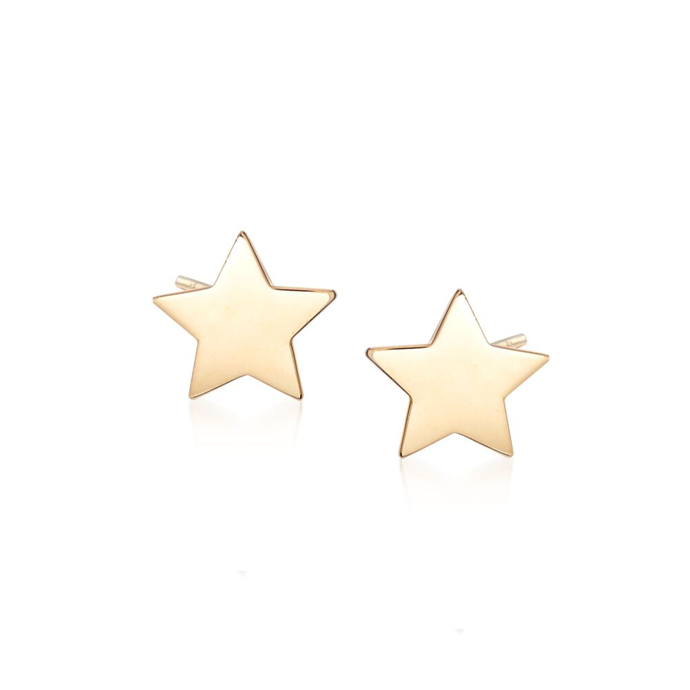 18kt Yellow Gold Star Stud Earrings Default