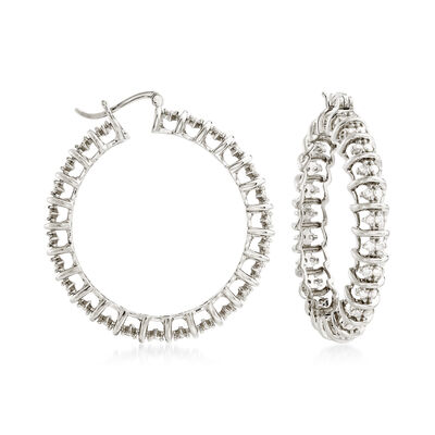2.00 ct. t.w. Diamond Hoop Earrings in Sterling Silver