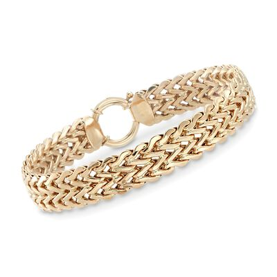 14kt Yellow Gold Wheat Chain Link Bracelet, , default