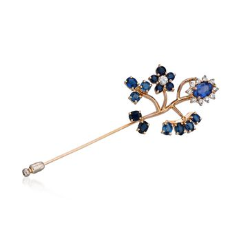 C. 2000 Vintage 7.65 ct. t.w. Sapphire and .85 ct. t.w. Diamond Floral Pin in 14kt Yellow Gold, , default