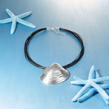 """Sterling Silver and Black Leather Quahog Shell Necklace. 18"""", , default"""