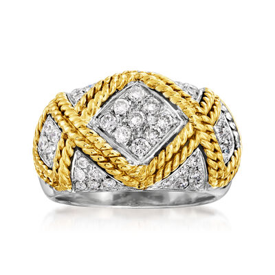C. 1990 Vintage .65 ct. t.w. Diamond X Roped Fashion Ring in 18kt Two-Tone Gold