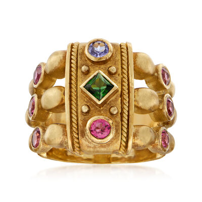 C. 1980 Vintage 1.05 ct. t.w. Multi-Gem Ring in 18kt Yellow Gold, , default
