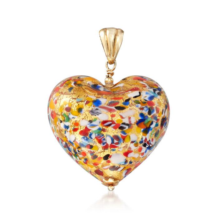 Italian Murano Glass Heart Pendant in 18kt Gold Over Sterling, , default