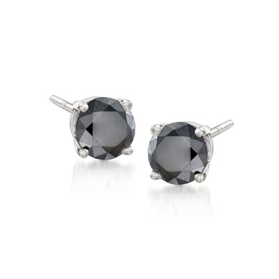 1.00 ct. t.w. Black Diamond Stud Earrings in 14kt White Gold, , default