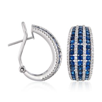 "2.75 ct. t.w. Sapphire and .95 ct. t.w. Diamond Hoop Earrings in 18kt White Gold. 5/8"", , default"