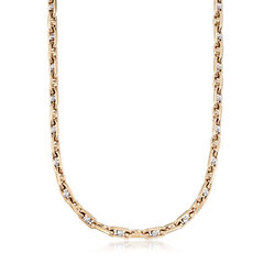 Men's 14kt Two-Tone Gold Oval Chain Link Necklace, , default