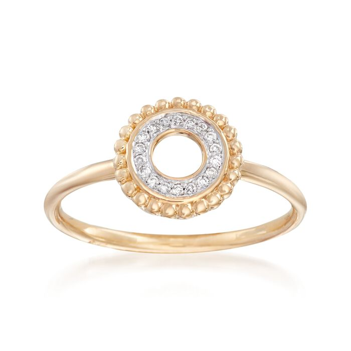 Diamond-Accented Open Circle Ring in 14kt Yellow Gold