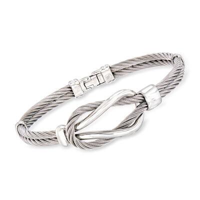 ALOR Men's Gray Stainless Steel Cable Knot Bracelet, , default