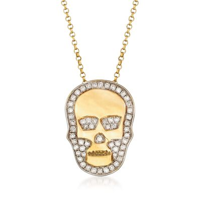 .25 ct. t.w. Diamond Skull Necklace in 18kt Yellow Gold, , default