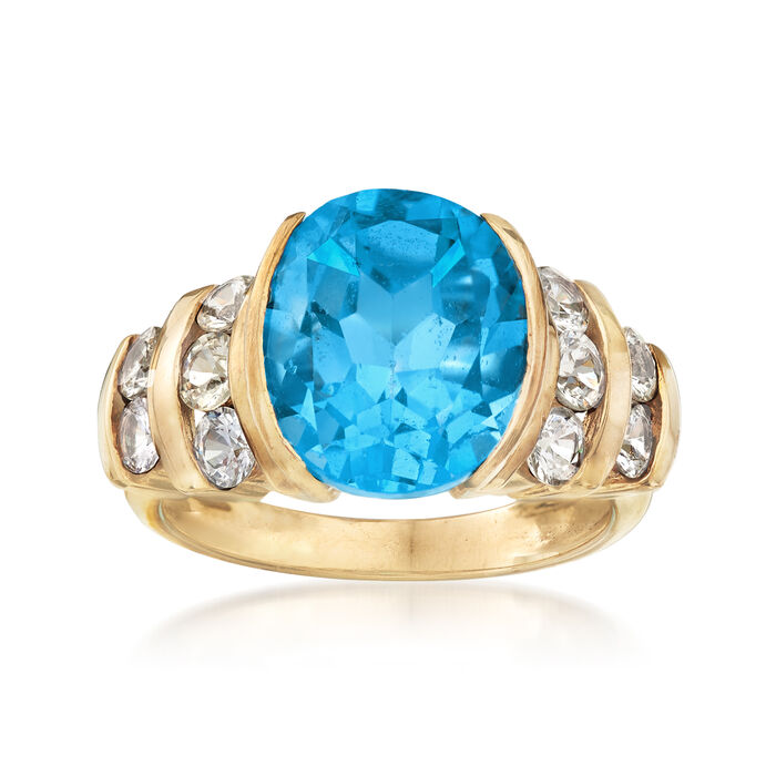C. 1990 Vintage 6.20 Carat Blue Topaz and 1.00 ct. t.w. White Topaz Ring in 10kt Yellow Gold. Size 6.5, , default