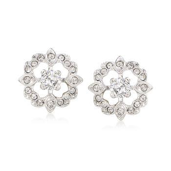 Swarovski Crystal Clear Crystal Jewelry Set: Earrings and Earring Jackets in Silvertone , , default