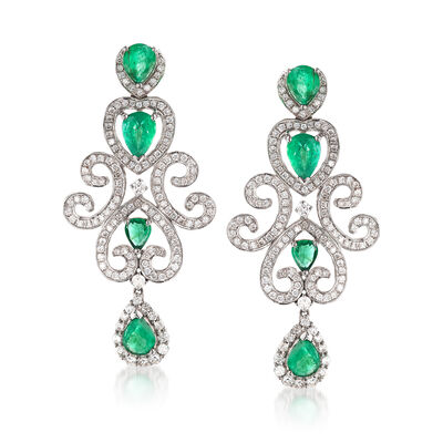 3.60 ct. t.w. Emerald and 1.85 ct. t.w. Diamond Scroll Drop Earrings in 18kt White Gold, , default
