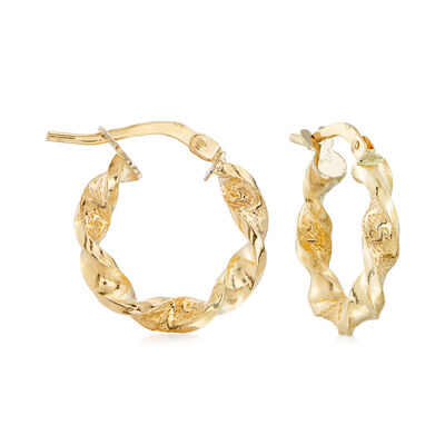 Italian 14kt Yellow Gold Twisted Greek Key Hoop Earrings, , default