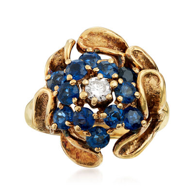 C. 1970 Vintage 2.00 ct. t.w. Sapphire and .20 Carat Diamond Cluster Ring in 14kt Yellow Gold