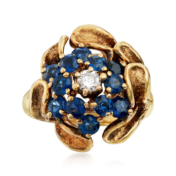 C. 1970 Vintage 2.00 ct. t.w. Sapphire and .20 Carat Diamond Cluster Ring in 14kt Yellow Gold. Size 8, , default