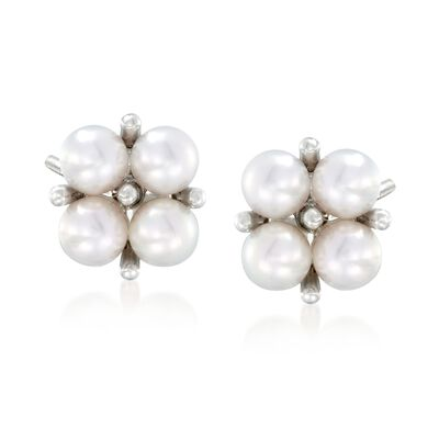 Mikimoto 3.25mm A+ Akoya Pearl Cluster Earrings in 18kt White Gold