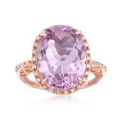 8.75 Carat Amethyst and .18 ct. t.w. Diamond Ring in 14kt Rose Gold, , default
