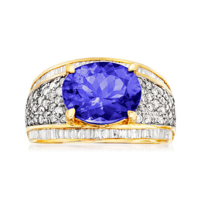 4.00 Carat Tanzanite and 1.10 ct. t.w. Diamond Ring in 14kt Yellow Gold, , default