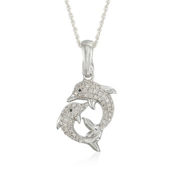 """.20 ct. t.w. Diamond Dolphin Pendant Necklace in Sterling Silver. 18"""", , default"""