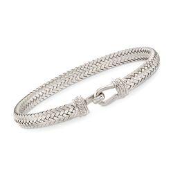 "Italian Sterling Silver Basketweave Bracelet. 7.5"", , default"