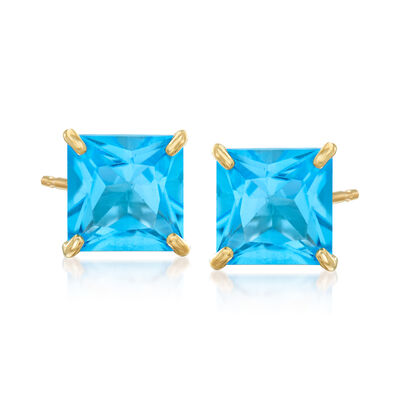 4.00 ct. t.w. Swiss Blue Topaz Square Stud Earrings in 14kt Yellow Gold