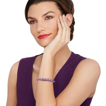 """6-8mm Graduated Amethyst Bead and .24 ct. t.w. Diamond Spacer Bracelet in Sterling Silver. 7"""", , default"""