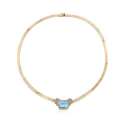 "C. 1980 Vintage 13.50 Carat Aquamarine and .18 ct. t.w. Diamond Necklace in 14kt Yellow Gold. 16.5"", , default"