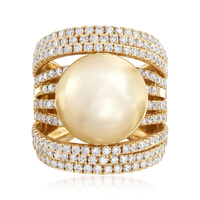 14-15mm Golden Cultured South Sea Pearl and 2.45 ct. t.w. Diamond Ring in 18kt Yellow Gold, , default