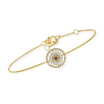 .30 ct. t.w. Diamond Bracelet with Sapphire Accent in 18kt Gold Over Sterling