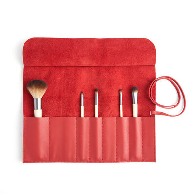 Royce Red Leather Makeup Brush Roll