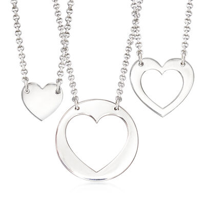 Sterling Silver Jewelry Set: Three Generations Heart Necklaces, , default