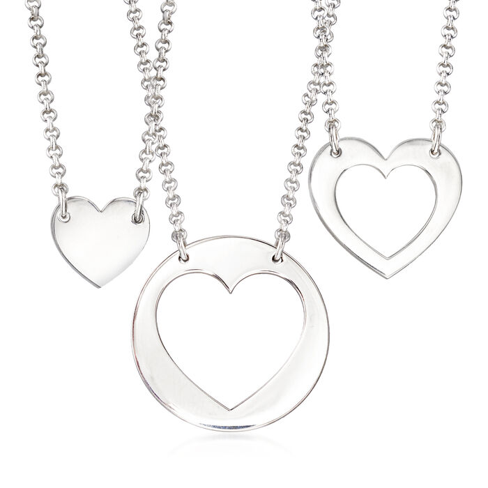 """Sterling Silver Jewelry Set: Three Generations Heart Necklaces. 18"""""""