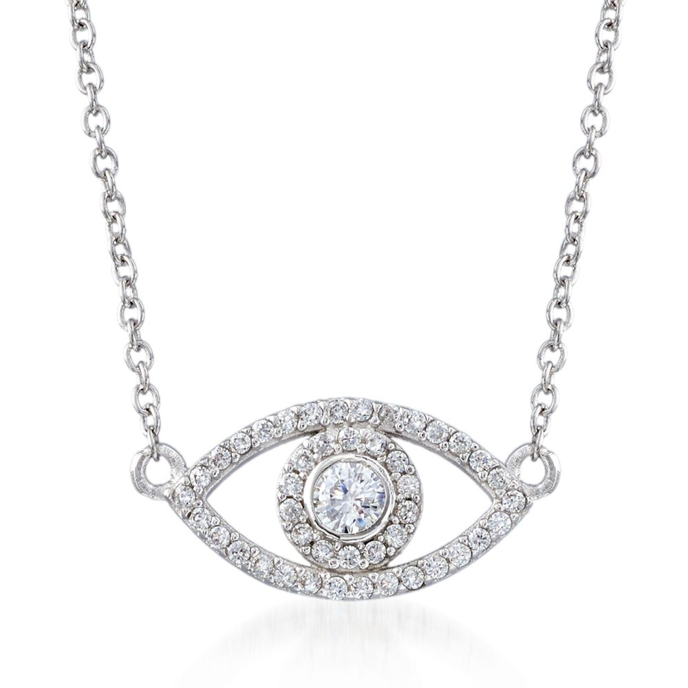 1f416e97c222ee 35 ct. t.w. CZ Evil Eye Necklace in Sterling Silver. 16