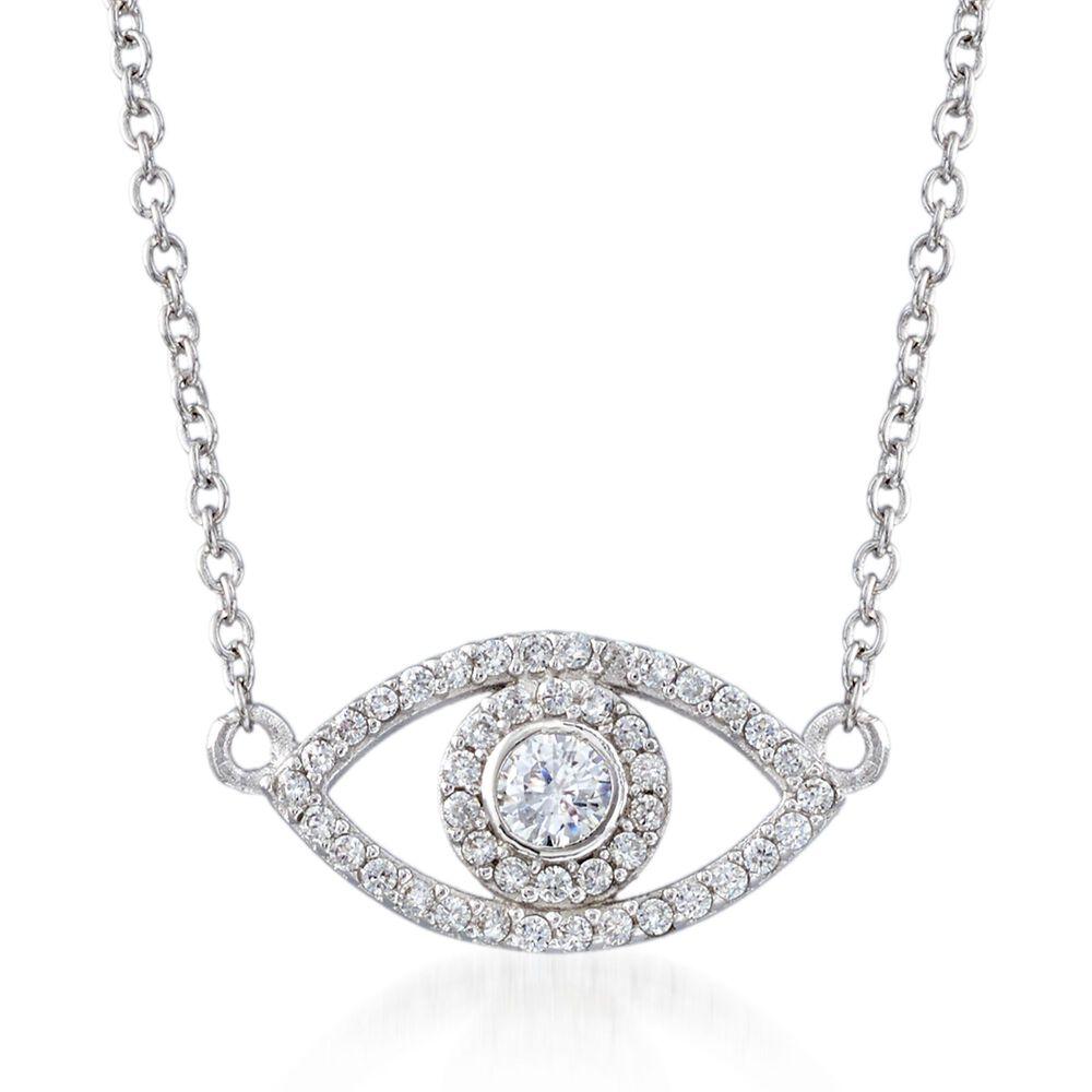 cae21b0f7 35 ct. t.w. CZ Evil Eye Necklace in Sterling Silver. 16