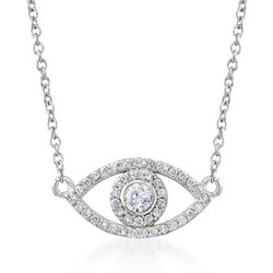 ".35 ct. t.w. CZ Evil Eye Necklace in Sterling Silver. 16"", , default"