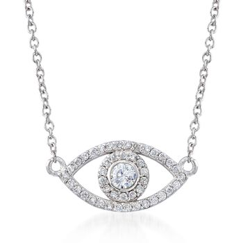 """.35 ct. t.w. CZ Evil Eye Necklace in Sterling Silver. 16"""", , default"""