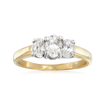 C. 1990 Vintage 1.05 ct. t.w. Diamond Three-Stone Ring in 14kt Yellow Gold, , default