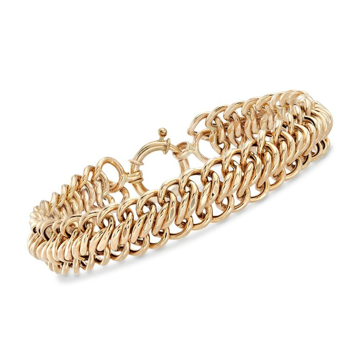 14kt Yellow Gold Curb-Link Bracelet . 8""