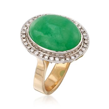 C. 1990 Vintage Jade and .45 ct. t.w. Diamond Ring in 18kt Two-Tone Gold. Size 6.25, , default