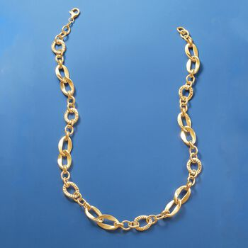 Italian 14kt Yellow Gold Textured and Polished Multi-Link Necklace, , default