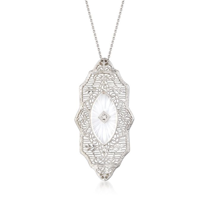 "C. 1950 Vintage Rock Crystal Filigree Necklace with Diamond Accents in 14kt White Gold. 16"", , default"