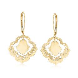 Italian 14kt Yellow Gold Filigree Drop Earrings , , default