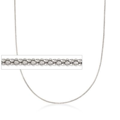Italian 1.5mm Sterling Silver Adjustable Slider Popcorn Chain Necklace, , default