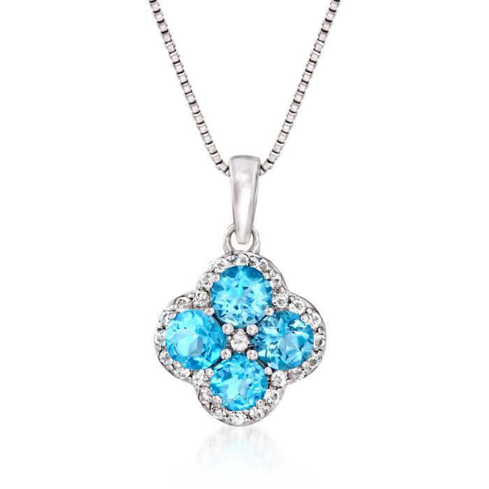 "1.30 ct. t.w. Blue and White Topaz Clover Pendant Necklace in Sterling Silver. 18"", , default"