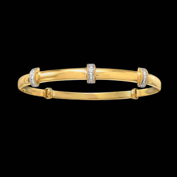 14kt Gold Over Sterling Silver Station Bangle Bracelet with Diamond Accents, , default